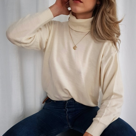 vintage ivory merino wool long sleeve turtleneck haut-vintage